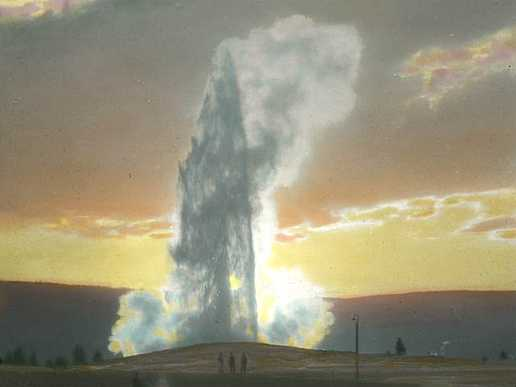 Old Faithful Geyser at Sunset, Yellowstone National Park,