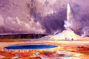 Castle Geyser, Upper Geyser Basin, Thomas Moran Watercolor, 1871 Hayden Expedition