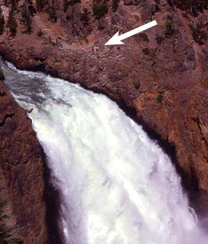 The Brink of the Upper Falls of Yellowstone photo by NPS.gov