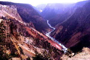 View down river from Inspiration Point in Grand Canyon of the the Yellowstone, photo by NPS.gov.