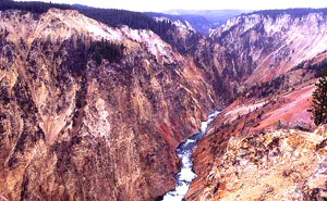 View up river from Inspiration Point in Grand Canyon of the the Yellowstone, photo by NPS.gov.